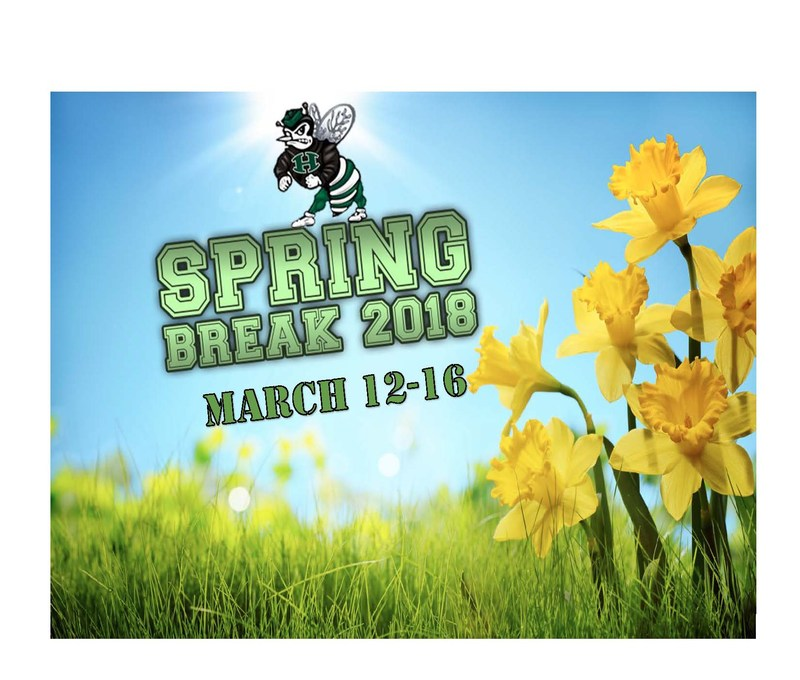 Field of yellow daffodils with hornet and wording spring break 2018 March 12-16