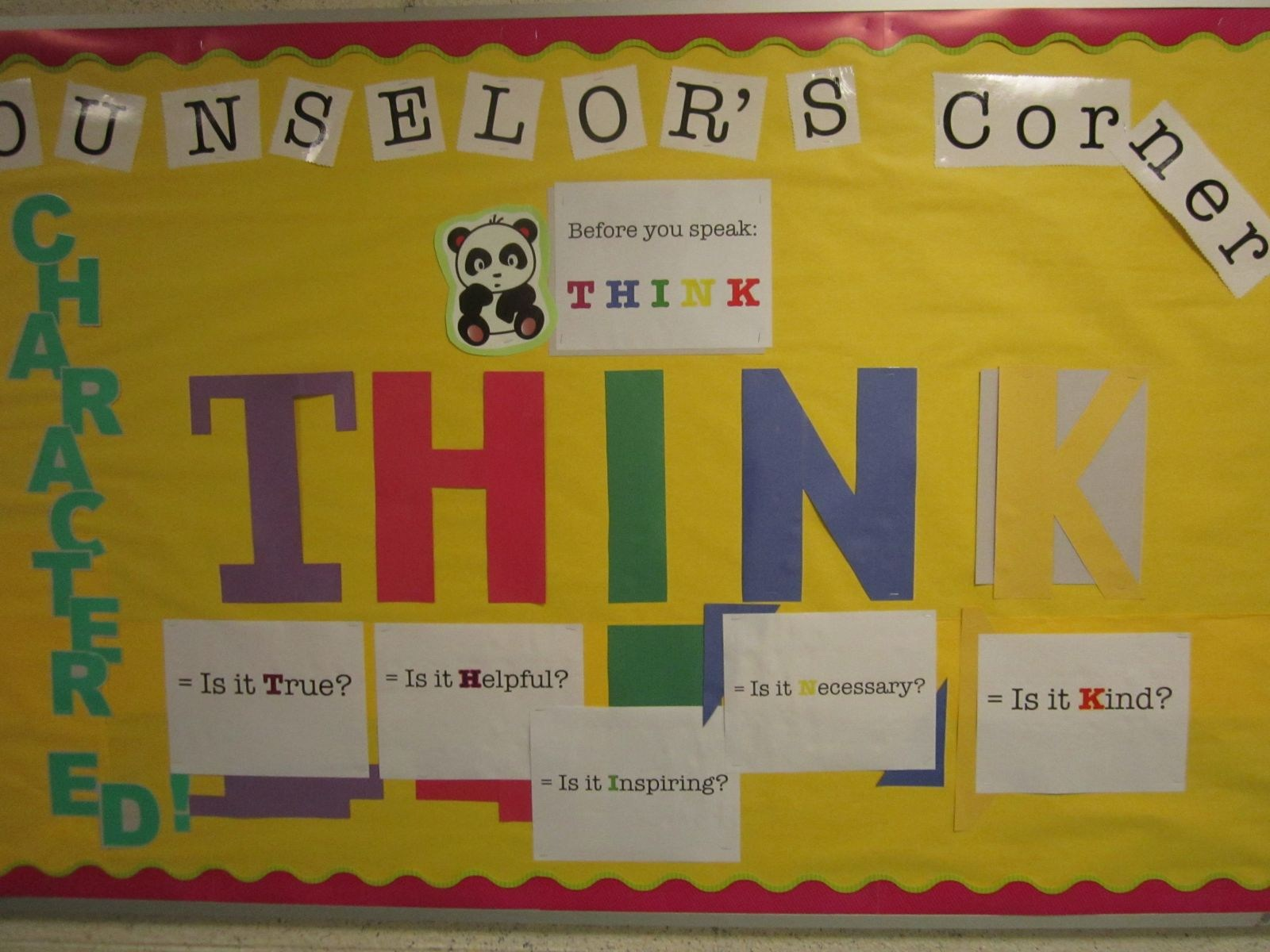 Photo of a THINK inspired bulletin board