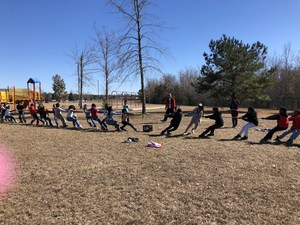 Mr. Vaughn's class tug-of-war.