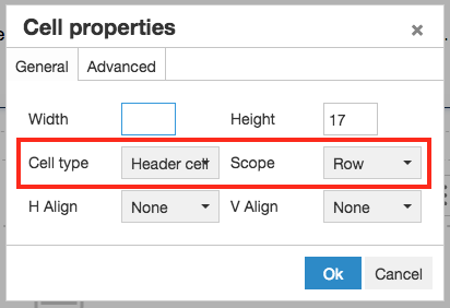 set Cell type to Header row and Scope to Row