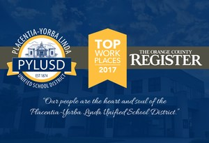 Graphic with PYLUSD logo and OC Register Top Workplaces logo.