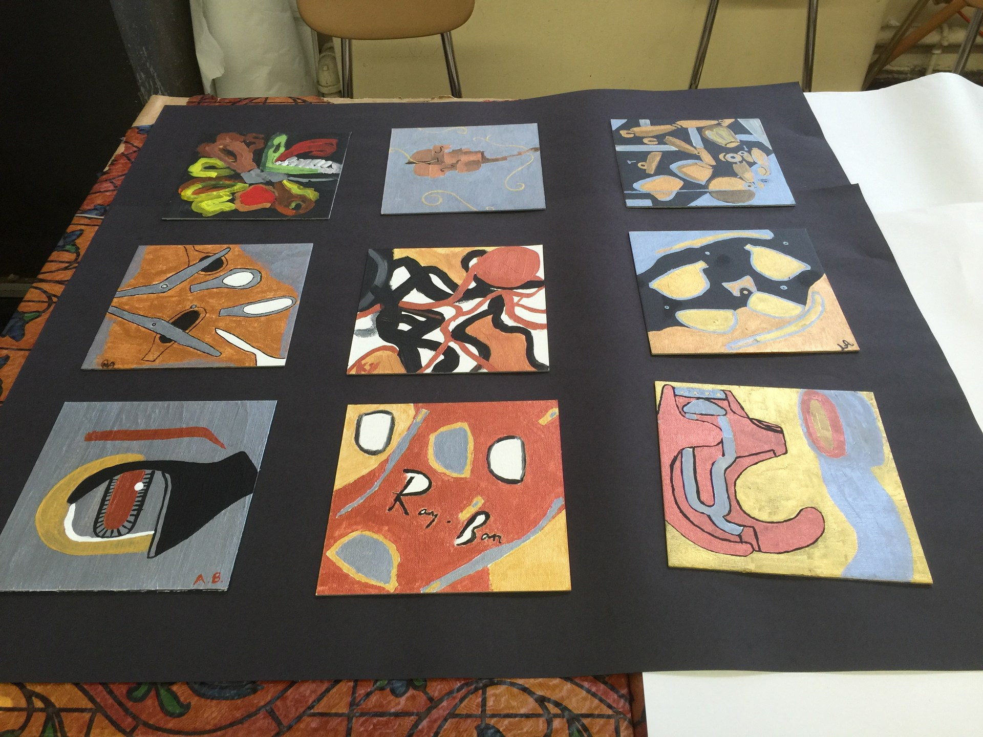 Group abstract painting deconstructing objects.