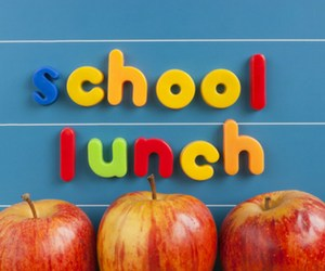 School Lunch Sign with Apples