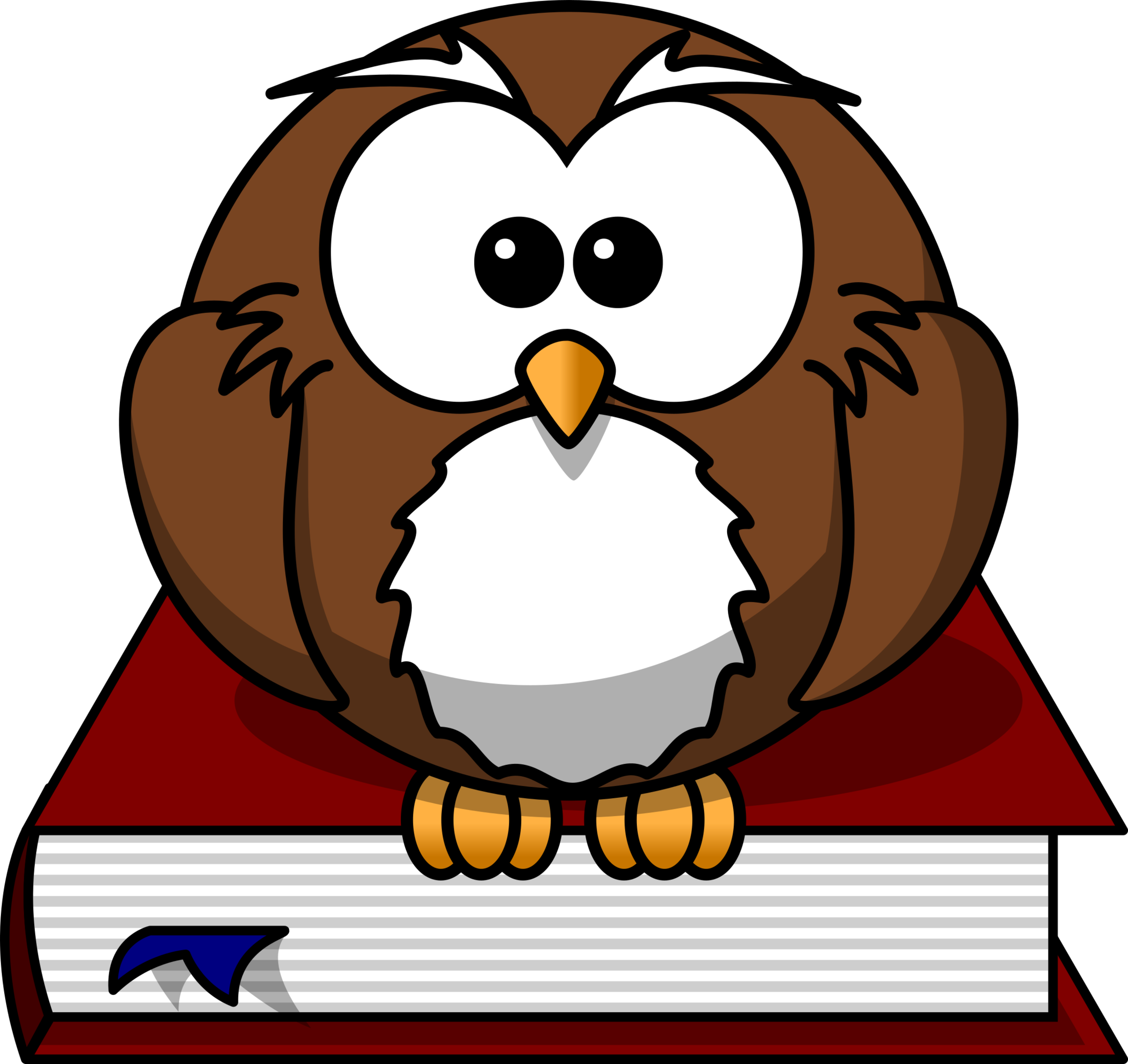 Owl sitting on a book.