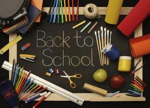 Back to School with school supplies surrounding