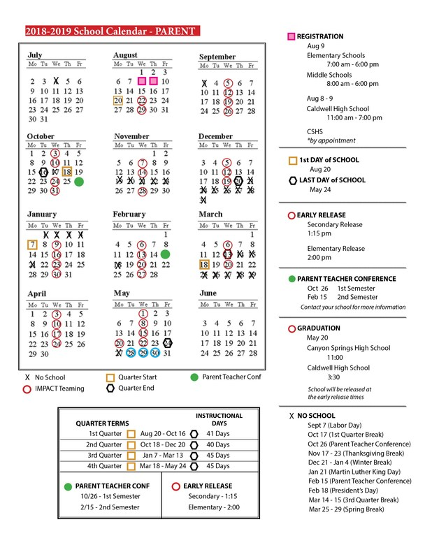 2018-2019 School Calendar Thumbnail Image