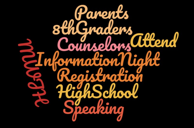 Words: information night, 8th graders, parents, counselors, speaking high school, registration scrambled to together.