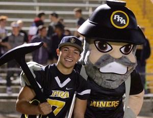 PRA student with Miner mascot