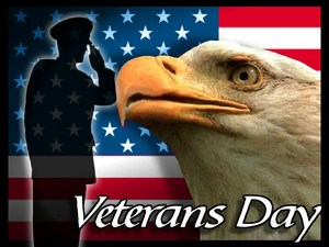 Veterans Day. Flag, soldier saluting and up close view of bald eagle