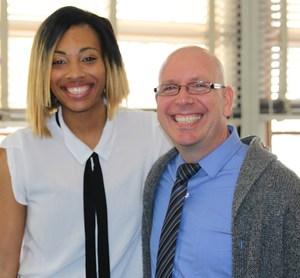 Paul Murphy (right) poses with Serra alumna and Duke University graduate, Urina Harrell '12 (left).jpg