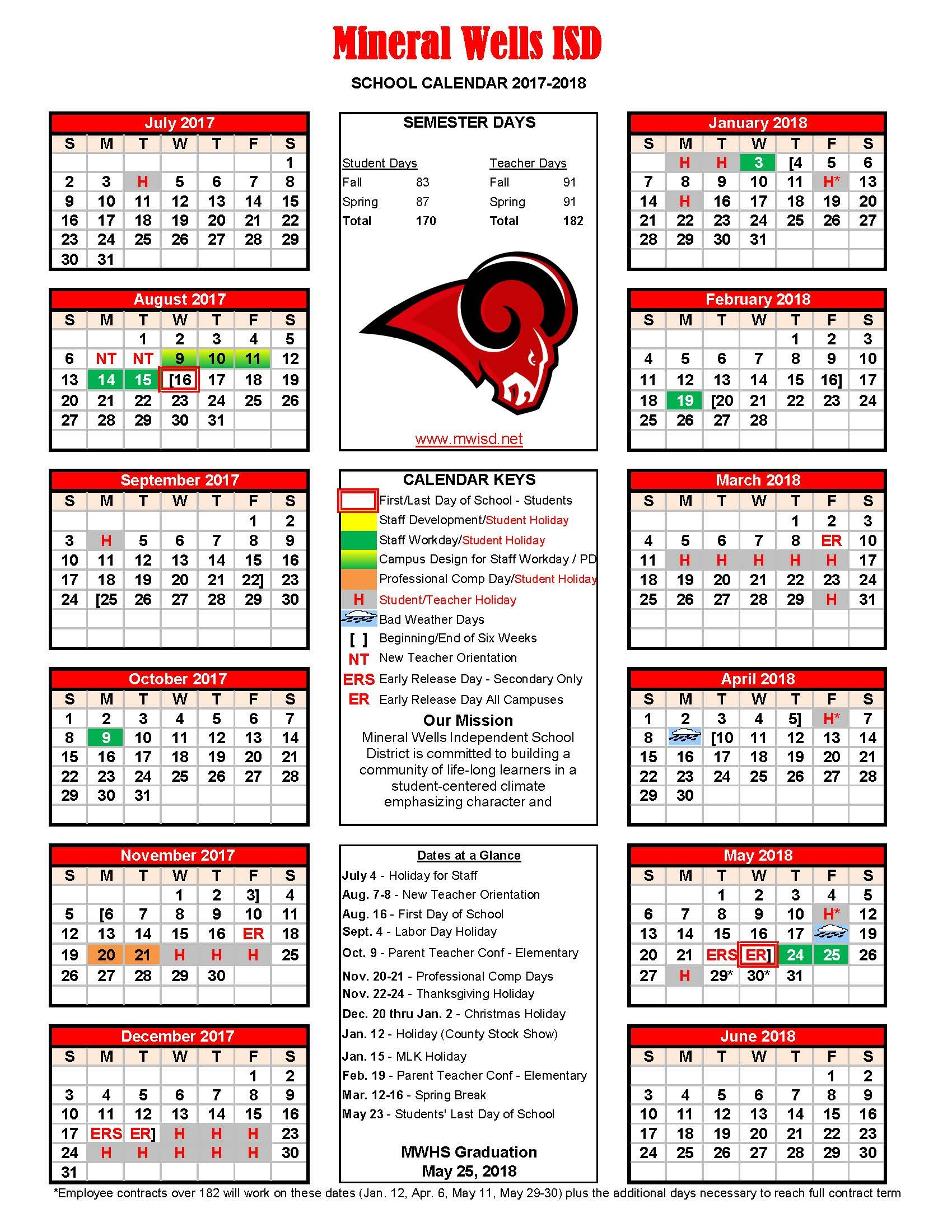 2017-18 Revised District Calendar