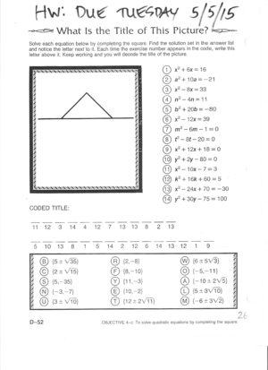 Long I Worksheets 2nd Grade Clayton Valley Charter High School Sq3r Worksheet Excel with Geometry Proof Worksheets Excel Riddle Worksheet What Is The Title Of This Picture Review Of Completing  The Square  All Teejay Maths Worksheets
