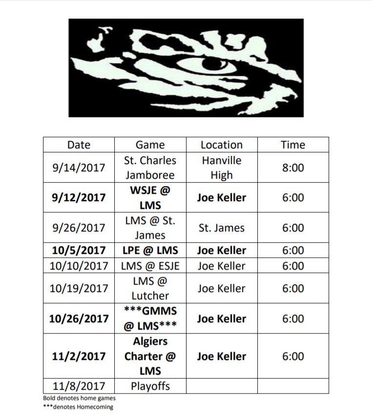 2017 LES Football Schedule