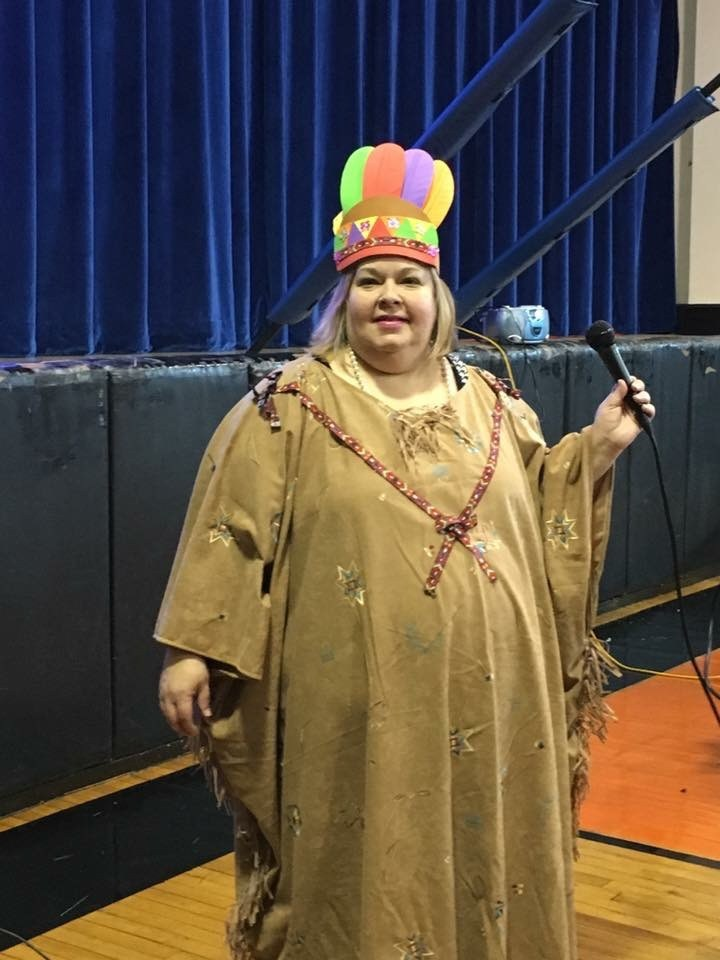 Parent liaison Maria Kancik dressed at a native american