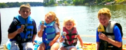 Picture of Mrs. Fernetti's children at the lake.
