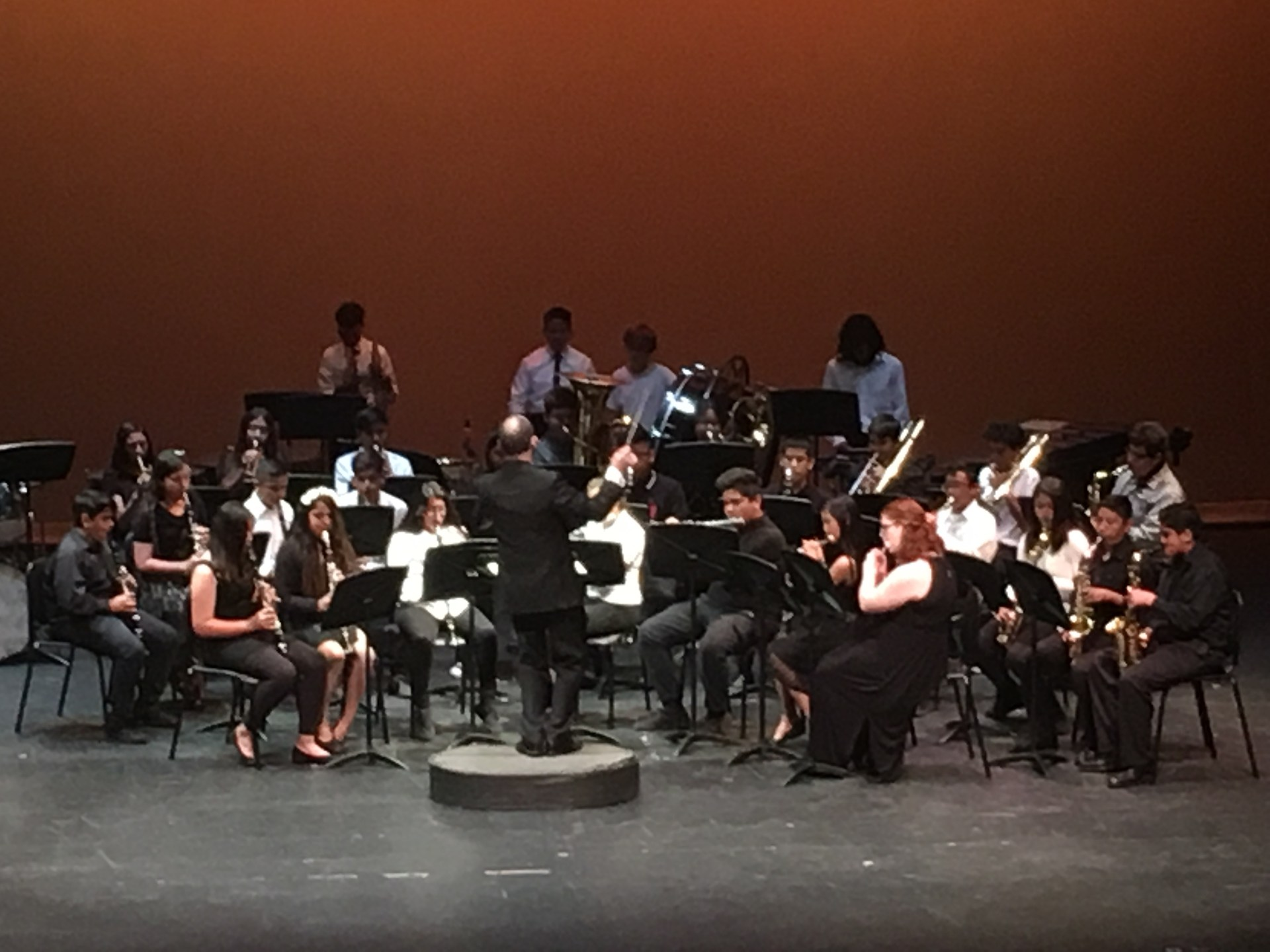 A Jr. High orchestra performing.