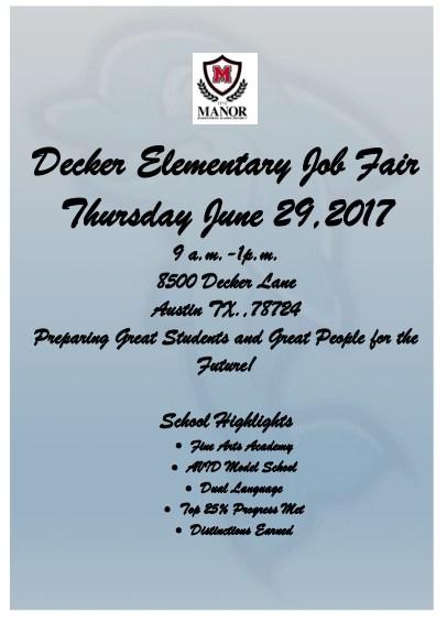Decker Elementary Job Fair Thumbnail Image