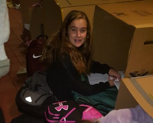 OLSH students sleeping outside during the annual Box Out event.