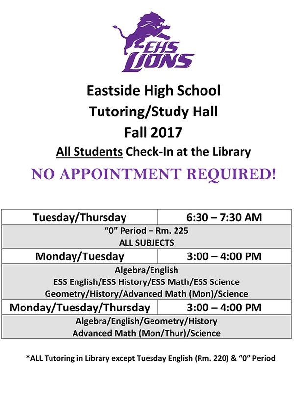 EHS Tutoring Schedule Fall 2017-18
