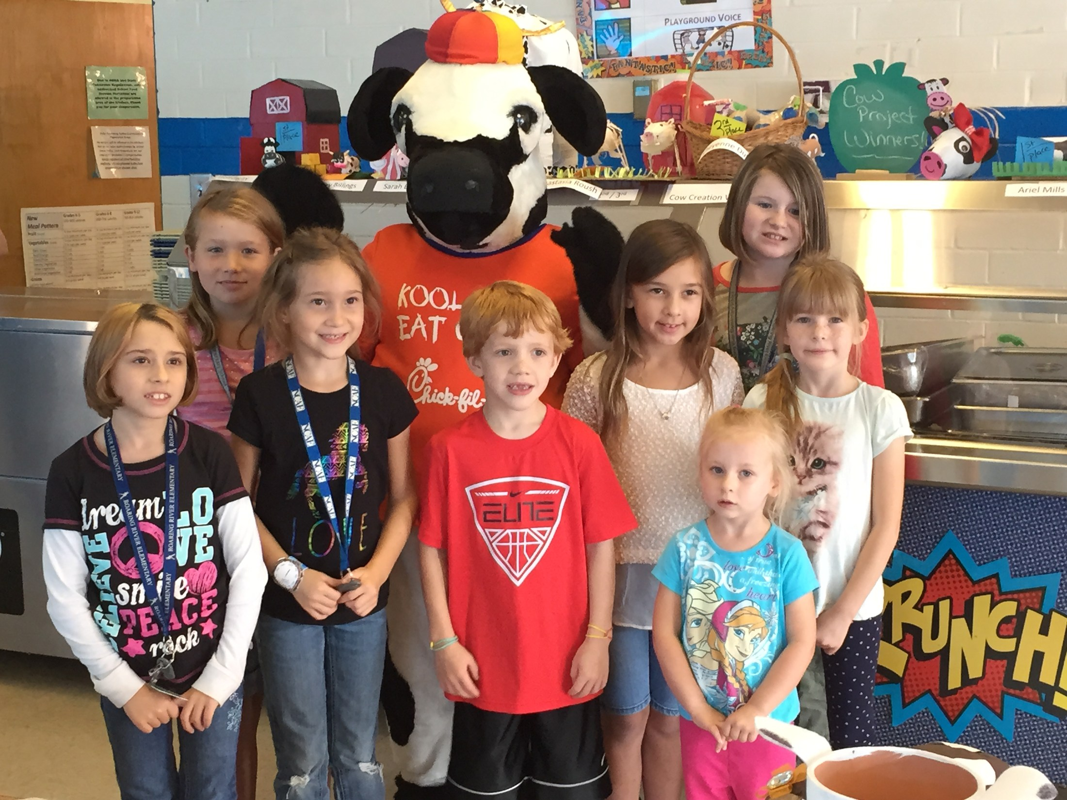 Students with Chick-fil-A cow