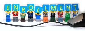 Enrollment graphic with Lego brand people