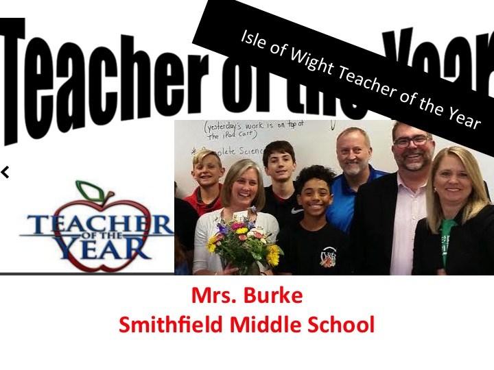 Mrs. Burke - IWCS Teacher of the Year