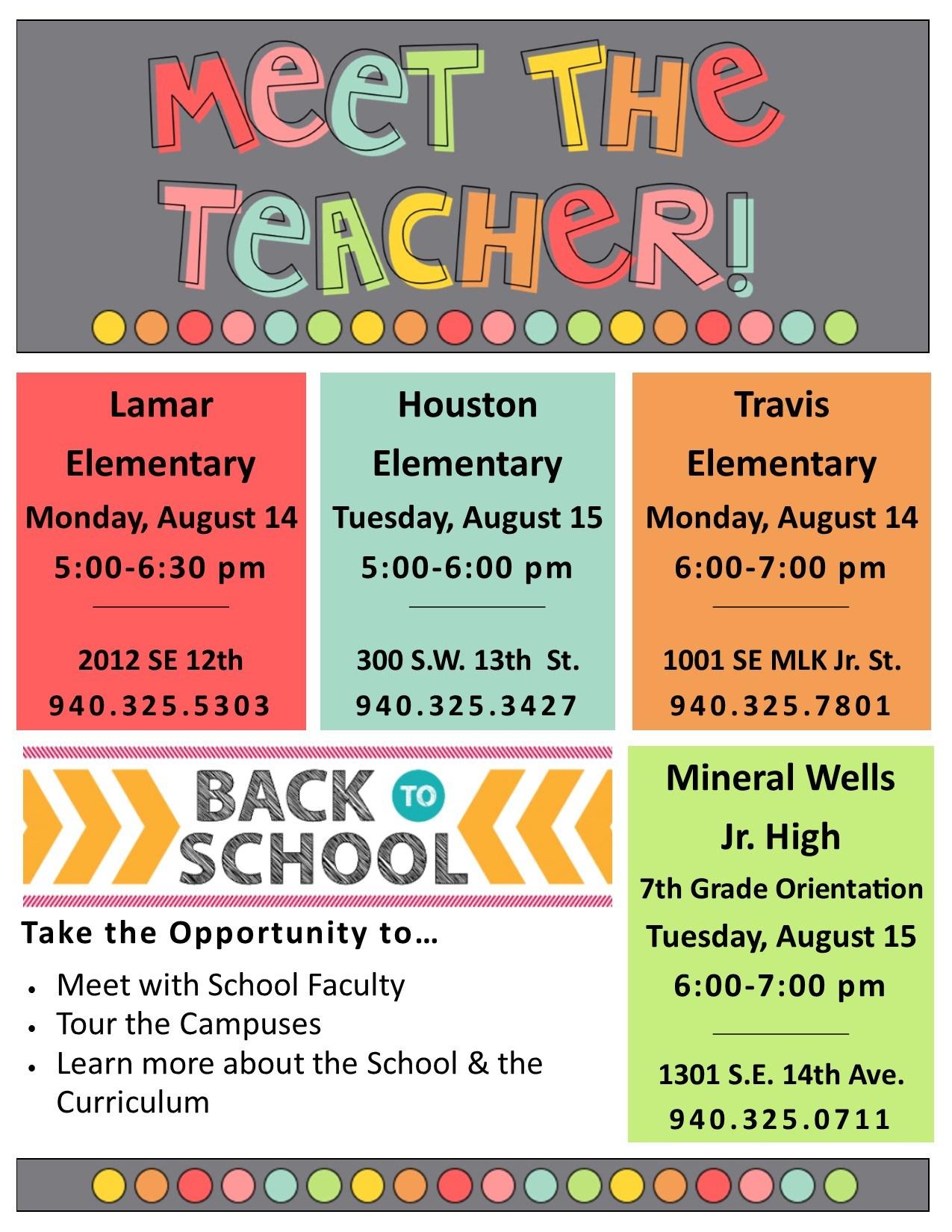2017 Meet the Teacher Dates at Mineral Wells ISD