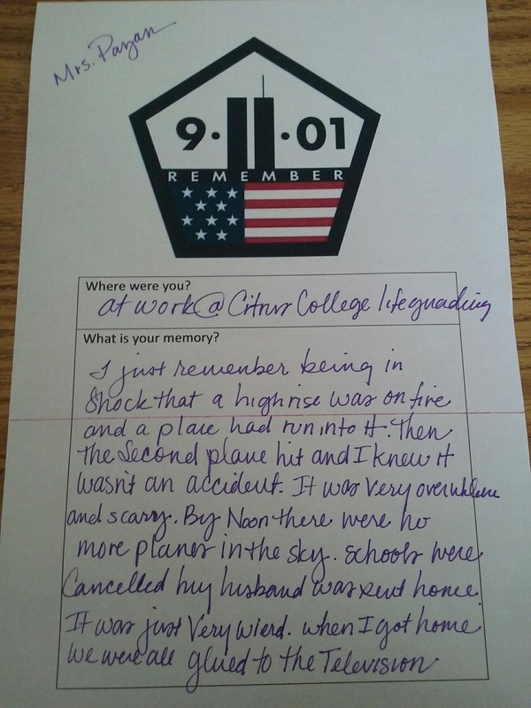 Sierra Vista High School U.S. World History teacher Wendy Payan shares her memories of the Sept. 11, 2001 attacks as part of a reflections activity on Friday, Sept 9. to mark the day's 15th anniversary.