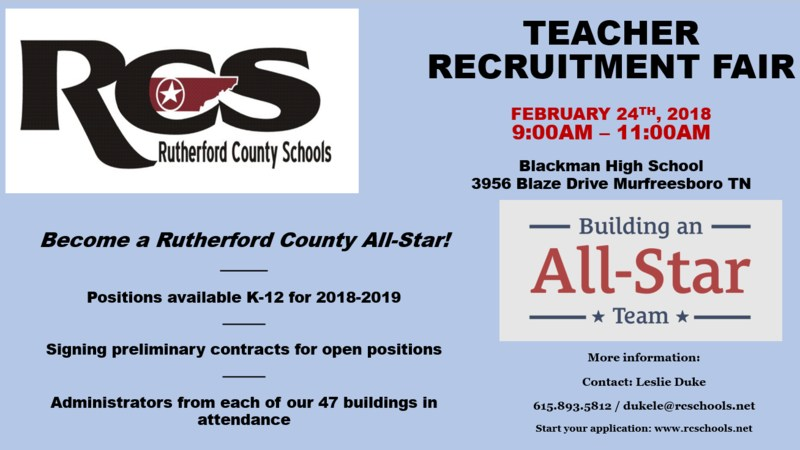 teacher recruitment fair feb 24th at BHS