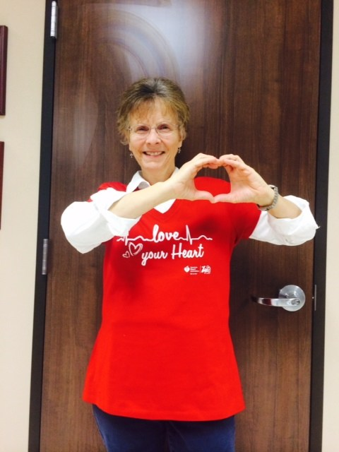 Nurse Darla loves her heart and goes RED for Go Red Day!