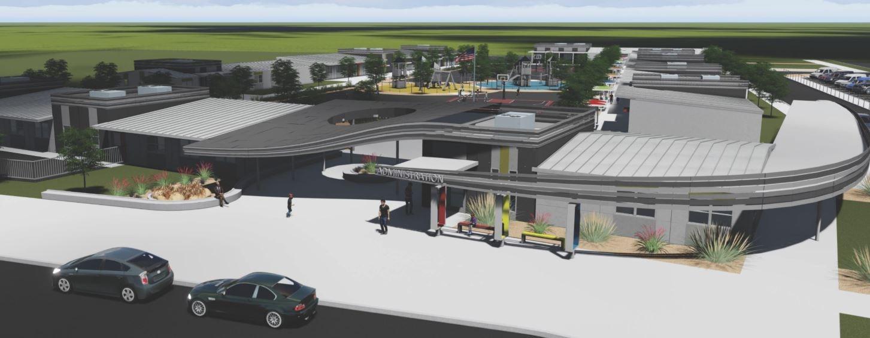 Aerial rendering of new school