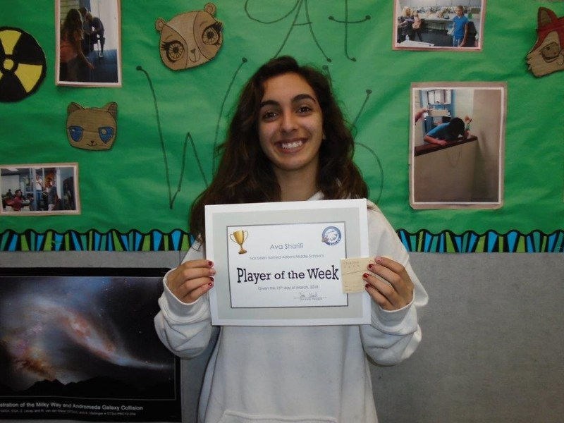 This week's Player of the Week, Ava Sharifi! Featured Photo