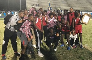 A photo of the Baker High School Boys Track Team after winning District 6-3A Runner Up