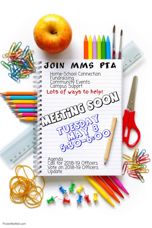 MMS PTA MEETING May 8, 2018   5:30 PM - 6:00 PM Thumbnail Image