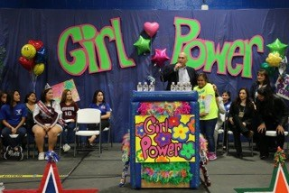 Superintendent at the first Girl Power Rally