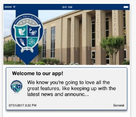Screenshot from the Siegel High School app