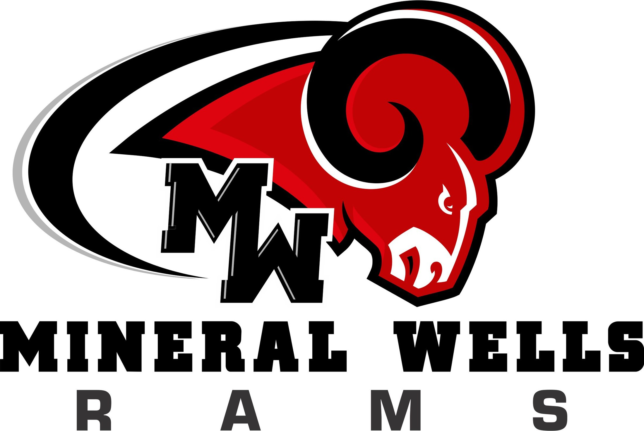 MW Red and Black Ram with wording