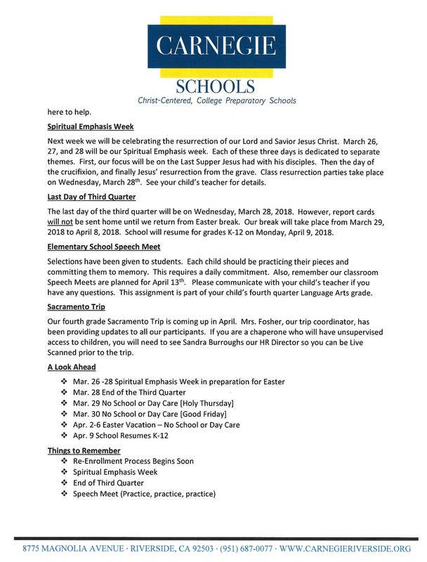 Weekly Lower School Newsletter Featured Photo
