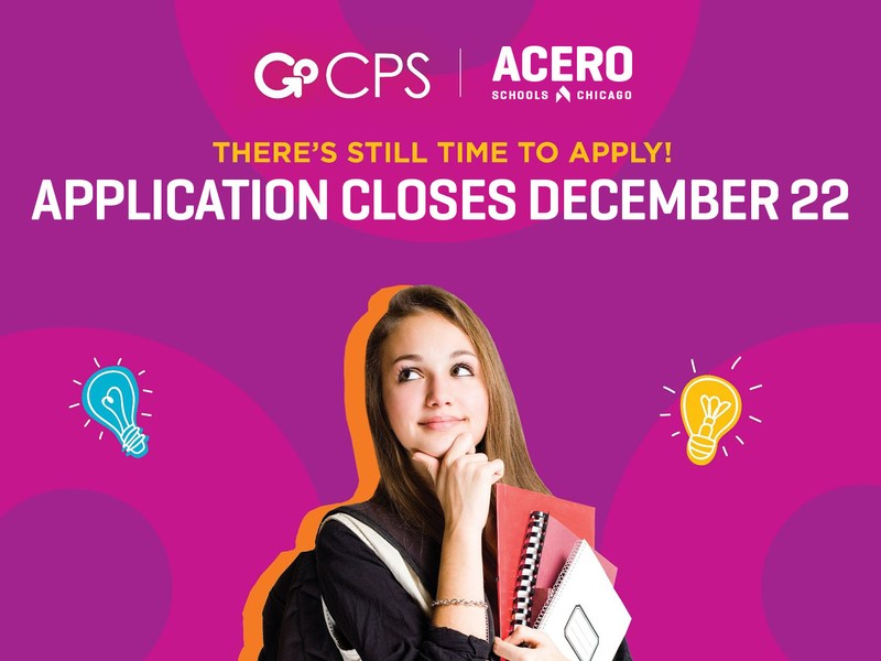 Poster reminding people that the HS application deadline is Dec. 22