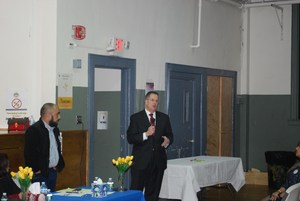 Mayor/senator stack addressing audience