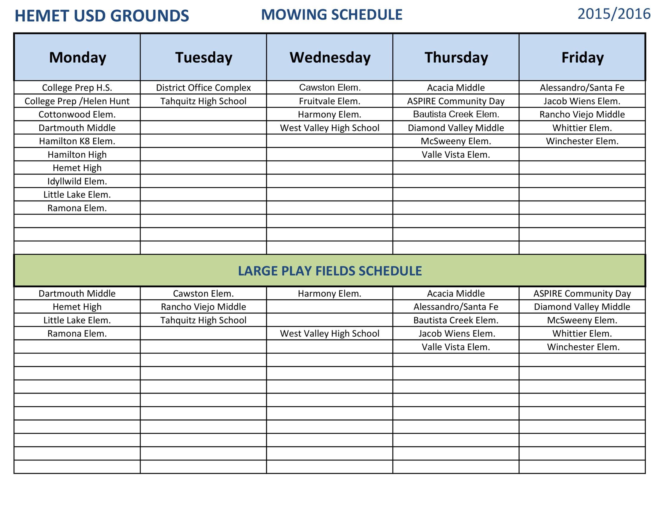 Mowing Schedule