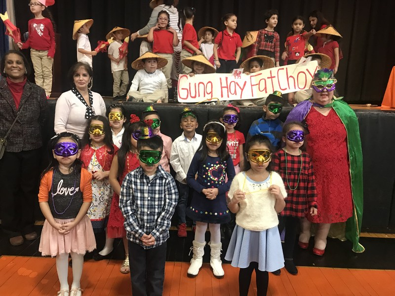 Students celebrating Mardi Gras and Chinese New Year