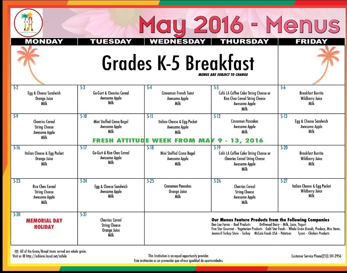 school breakfast & lunch menu – parents – serrania charter for