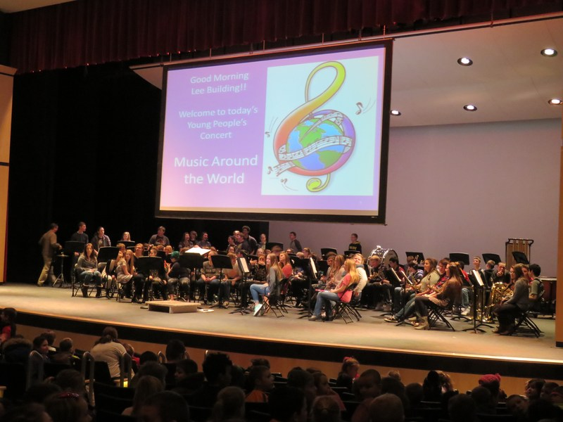 High school bands performed the Young People's concerts for elementary students.