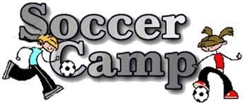 BOY AND GIRL HOLDING SIGN SAYING SOCCER CAMP