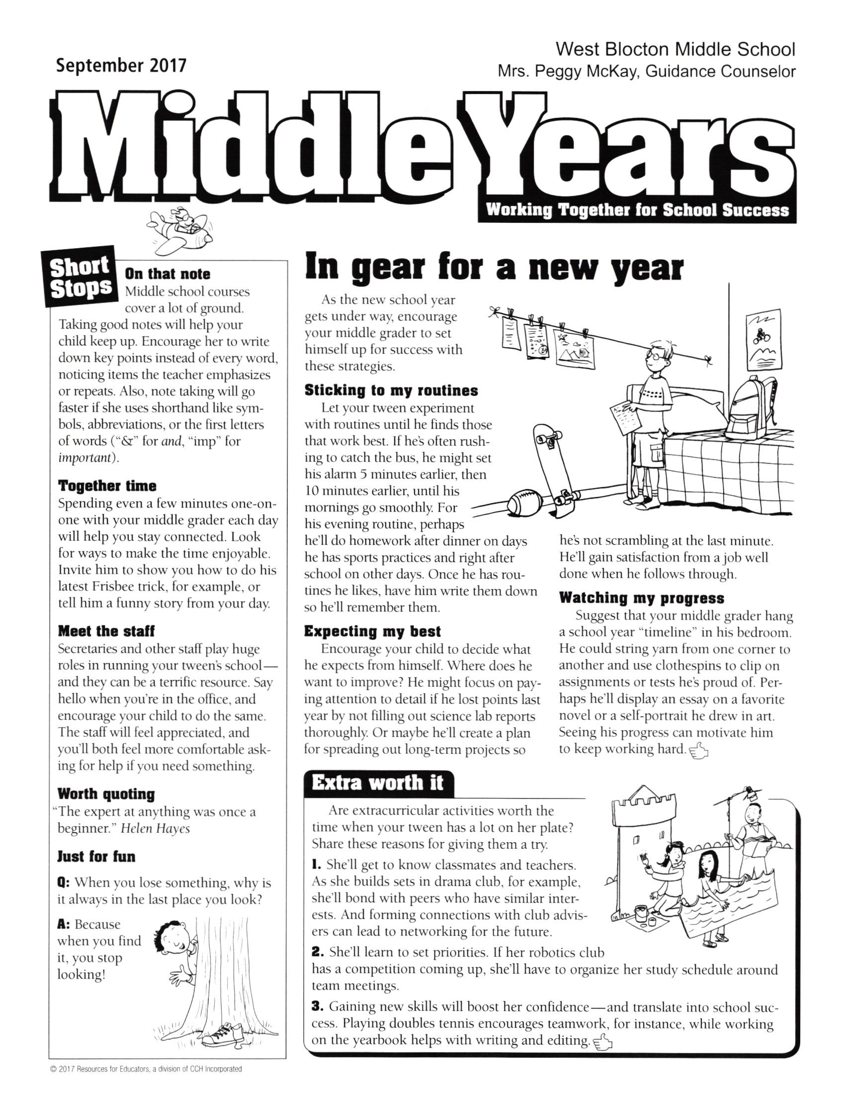 Middle Years September Page 1
