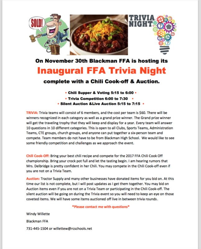 This Thursday night we would love to have each school organization with a 6 person team for our trivia night.  A few items that have been prepared for the auction include....  Gift certificate for Big Springs Trap Range Hand and Stone certificate for a 50 minute massage or facial Handmade pallet bar and plenty of horseshoe art all made by our students Small animal cage complete set-up Gift certificates for 2 Fancy 14