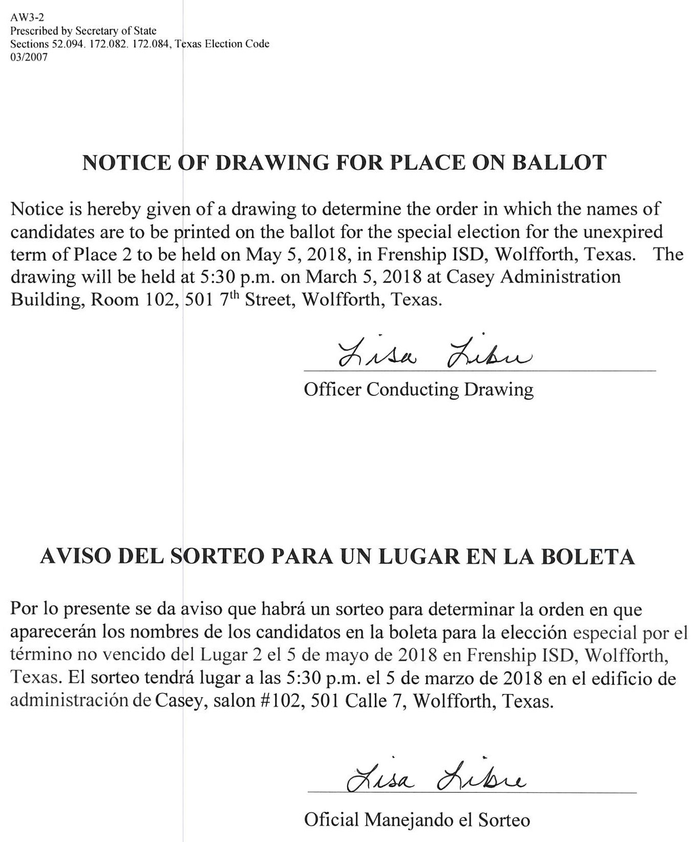 Notice of Drawing for Place on Ballot
