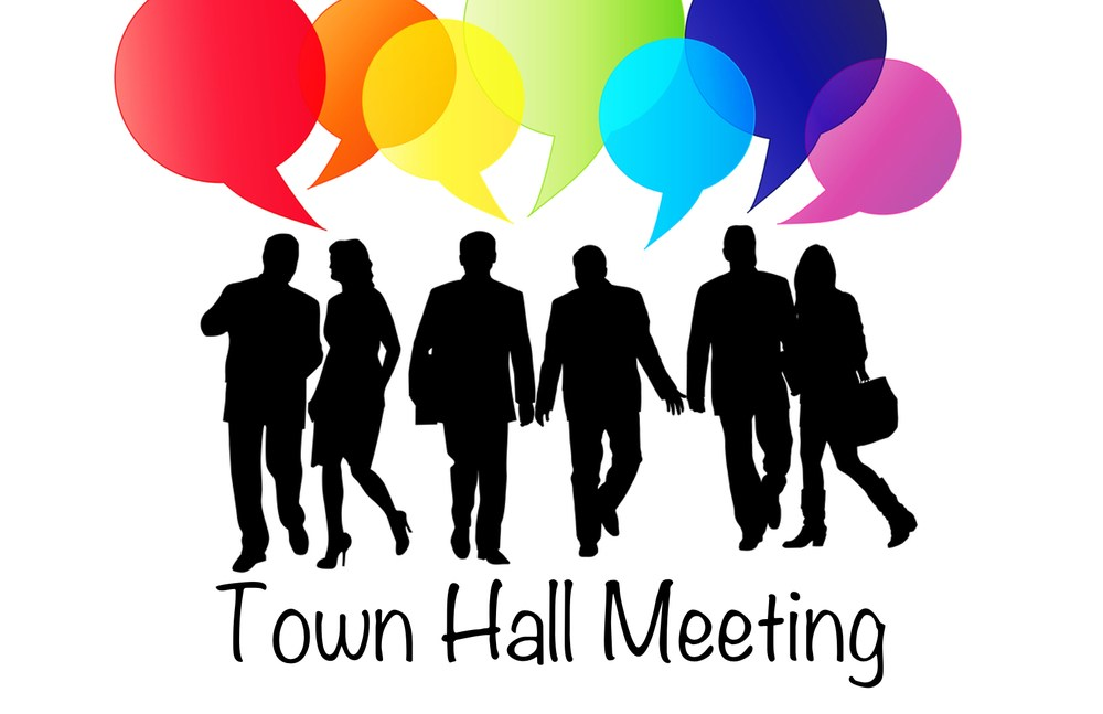 Town hall meetings - silhouettes of business people with colored thought bubbles