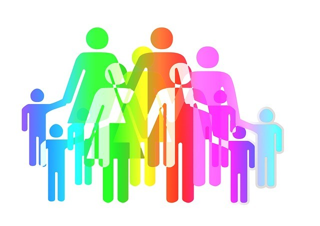 Colorful family groups